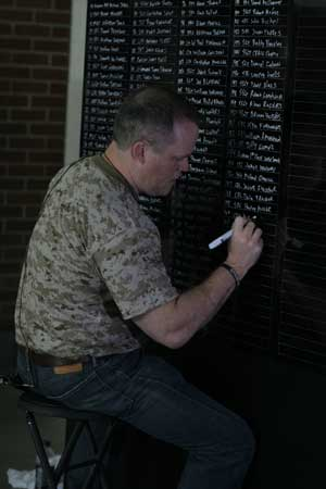 Ron White writes out a name of a fallen soldier from the Afghanistan war on a 50-foot memorial wall at Chase Field in Phoenix, Arizona on May 27, 2013. (Photo by Anthony Cave, News21)