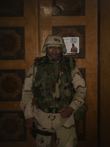 Jason Patterson, seen here in Saddam Hussein's office in the Baghdad Presidential Palace in 2004, served in the unit that governed Iraq after the invasion.  (Photo submitted by Patterson)