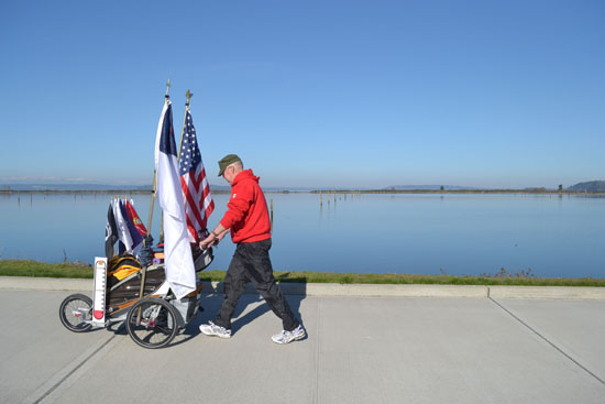 Chuck Lewis sets out on his first day of a cross-country walk in Everett, Wash. (Photo submitted by Linda Sappington)