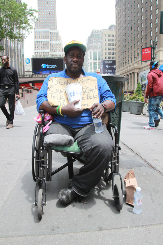 Vaughn Little, a Gulf War Army infantryman, lost his leg during Operation Desert Storm. He is now homeless in New York City. (Photo by Catey Traylor, News21)